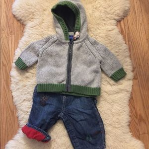 OshKosh Zip Sweater and Lined Jeans Set 3-6 months
